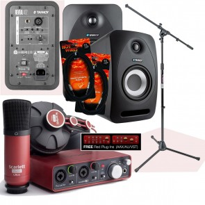 Focusrite Scarlett 2i2 Studio + (2) Tannoy Reveal 402 + Accessories *BUNDLE*