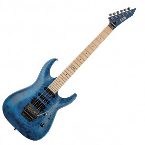 ESP LTD MH-103 QM Quilted Maple See-Thru Blue Electric Guitar