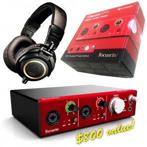 Focusrite Clarett 2Pre Interface BUNDLE WITH Audio-technica ATH-M50x Headphones